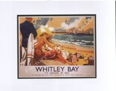Whitley Bay - Modern Railway Poster Style Mounted Print